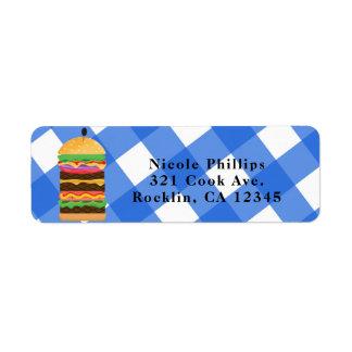 Blue Hamburger Summer Cookout Barbecue Invitation Return Address Label