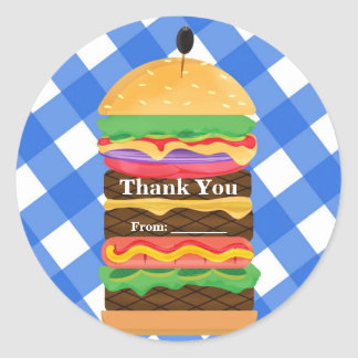 Blue Hamburger Summer Cookout Barbecue Party Favor Classic Round Sticker