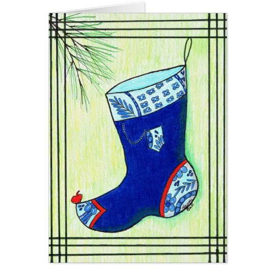 Blue Hanbok Christmas Stocking Card