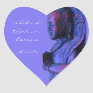 Blue Hand Carved Buddha Heart Sticker