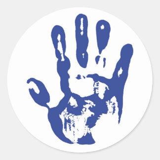 Blue Hand Classic Round Sticker