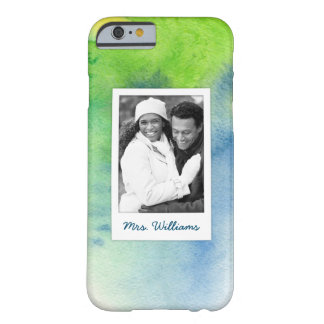 Blue Hand Painted Watercolor | Add Photo Barely There iPhone 6 Case