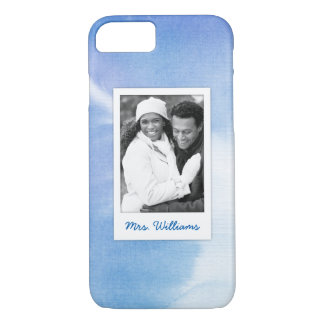 Blue Hand Painted Watercolor | Add Photo iPhone 8/7 Case