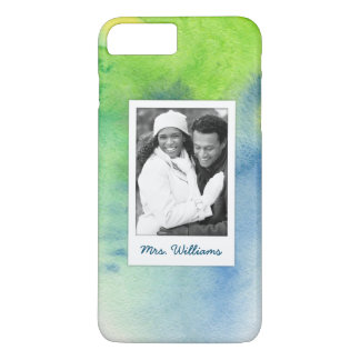 Blue Hand Painted Watercolor | Add Photo iPhone 8 Plus/7 Plus Case