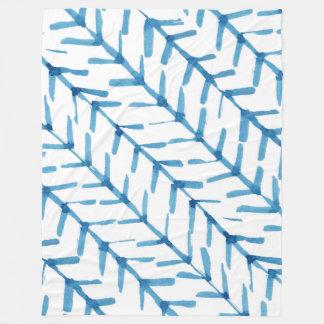 Blue Hand Painted watercolor Arrows Fleece Blanket