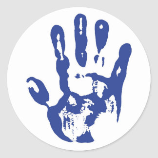 Blue Hand Round Sticker