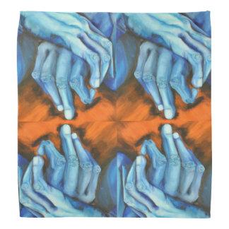 Blue hands art designer bandanna