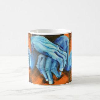Blue hands art designer mug