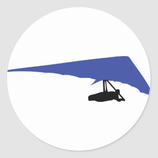 blue hang-glider icon classic round sticker