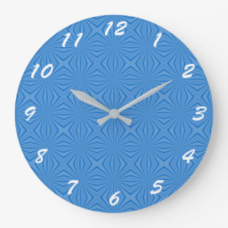 Blue Hannakah Squiggly Squares Large Clock
