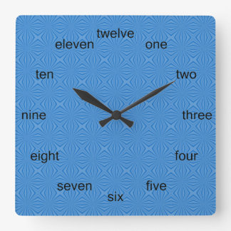 Blue Hannakah Squiggly Squares Square Wall Clock