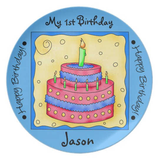 Blue Happy 1st Birthday Cake Art Name Personalized Plate