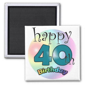 Blue Happy 40th Birthday Refrigerator Magnets
