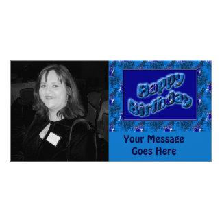 blue happy birthday personalized photo card