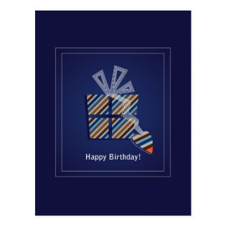 Blue happy birthday postcard with a gift box