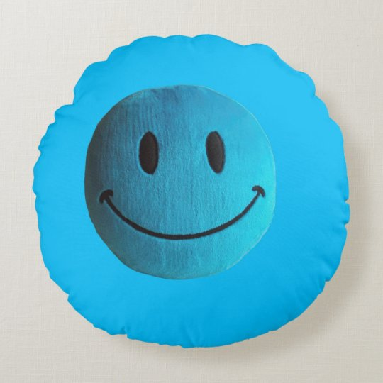 Blue happy face round pillow sky blue