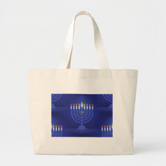 blue happy hannukah large tote bag
