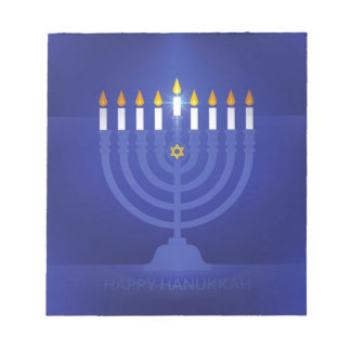 blue happy hannukah notepads