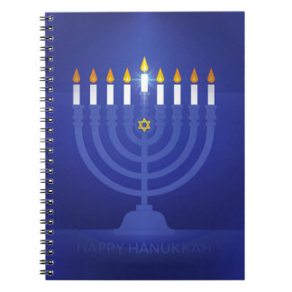 blue happy hannukah spiral notebook