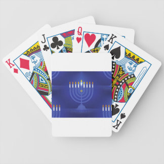 blue happy hanukkah bicycle playing cards