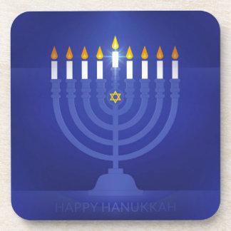 blue happy hanukkah coaster