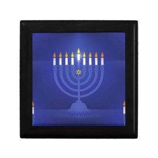 blue happy hanukkah gift box