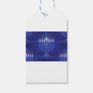 blue happy hanukkah gift tags