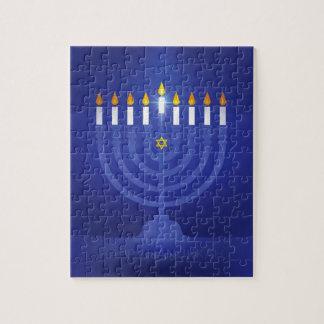 blue happy hanukkah jigsaw puzzle