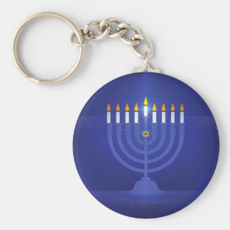 blue happy hanukkah keychain