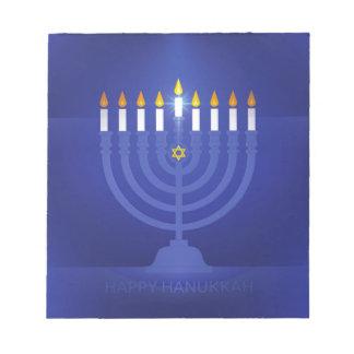 blue happy hanukkah notepad