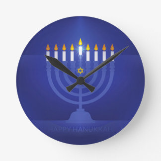 blue happy hanukkah round clock