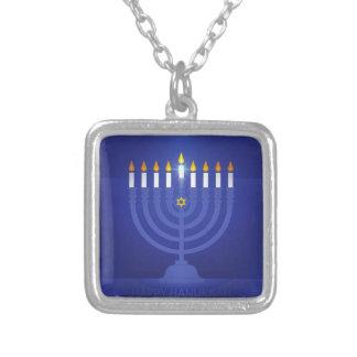 blue happy hanukkah silver plated necklace