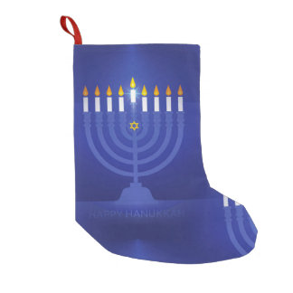blue happy hanukkah stocking