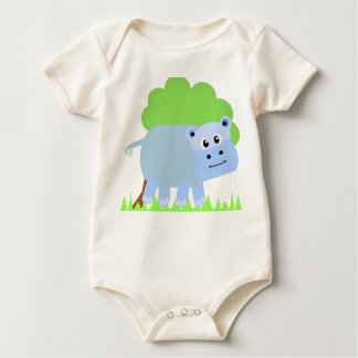 Blue Happy Hippo Infant Baby Bodysuit