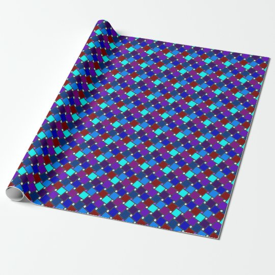 Blue harlequin wrapping paper