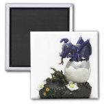 Blue hatching dragon square magnet