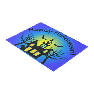 Blue Haunted House and Bats Doormat