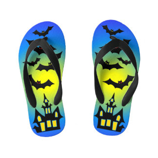 Blue Haunted House and Bats Kid's Flip Flops