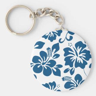 Blue Hawaiian Hibiscus Basic Round Button Keychain