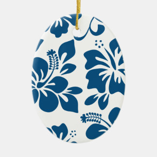 Blue Hawaiian Hibiscus Ceramic Oval Ornament