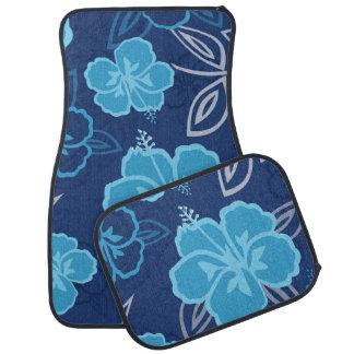 Blue Hawaiian Hibiscus Pattern Car Mat