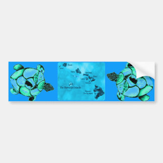 Blue Hawaiian Honu Turtle bumper sticker