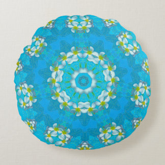 """Blue Hawaiian Plumeria Lei Round Throw Pillow 16"""""""