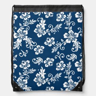 Blue Hawaiian Print Drawstring Backpack