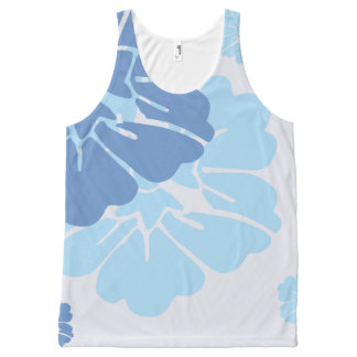 Blue Hawaiian Style Flowers All-Over-Print Tank Top
