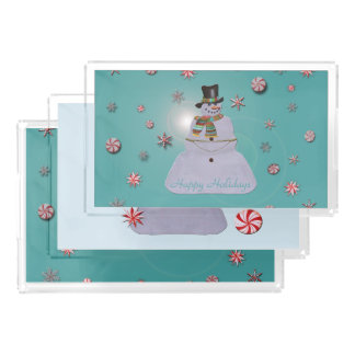Blue Haze Snowman Happy Holidays Acrylic Tray