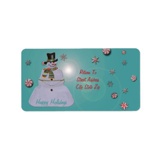 Blue Haze Snowman Happy Holidays Label
