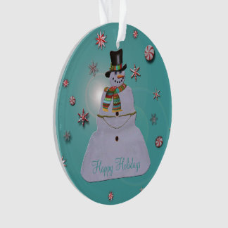 Blue Haze Snowman Happy Holidays Ornament