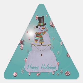 Blue Haze Snowman Triangle Sticker