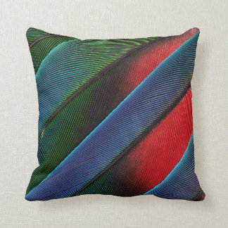Blue Headed Parrot Feather Design Throw Pillow